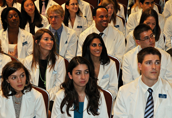 The new UCSF medical school Class of 2015 received their first white coats at an