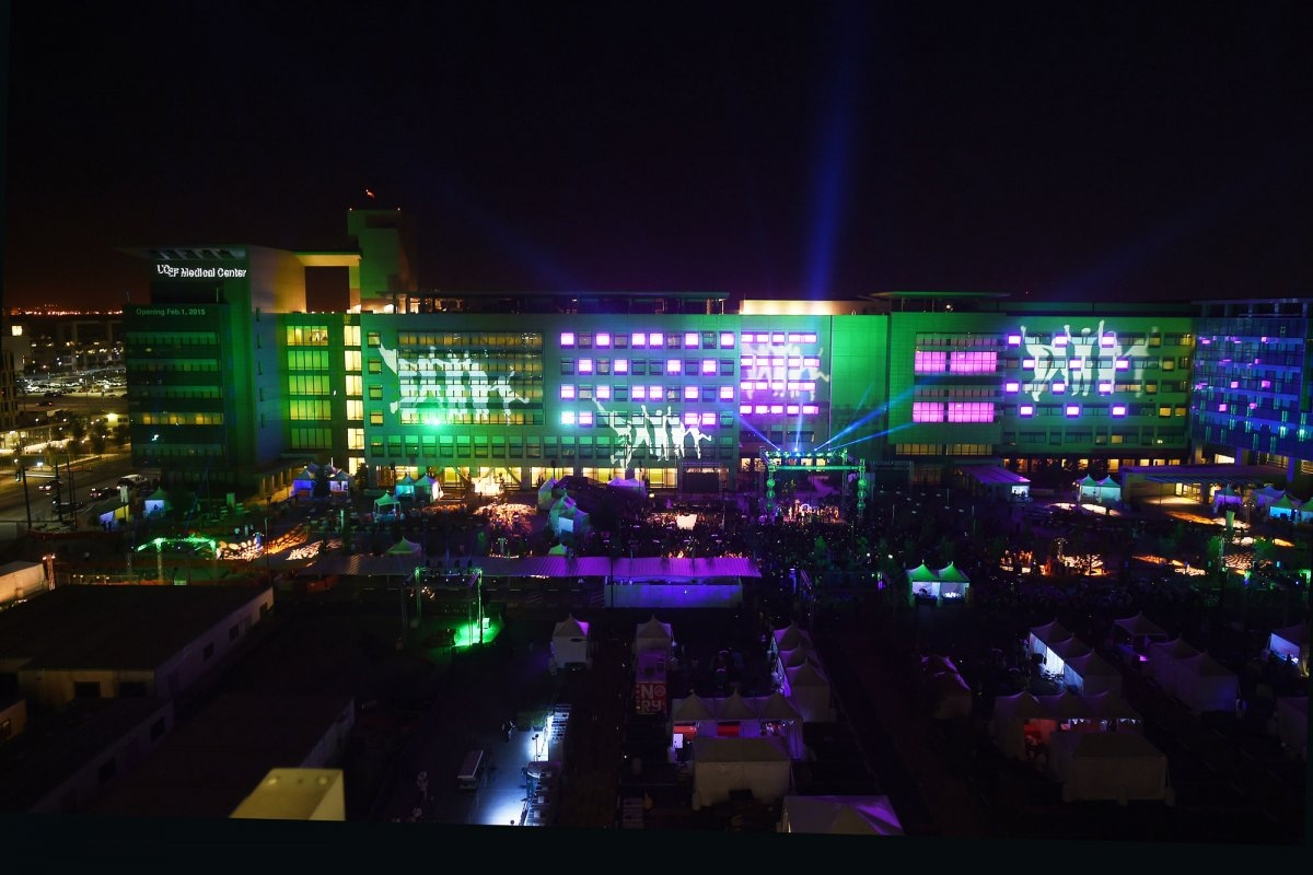 A view of the light show and festivities in the public plaza. & San Francisco Celebrates 3 New Hospitals With Stars Lights and ... azcodes.com