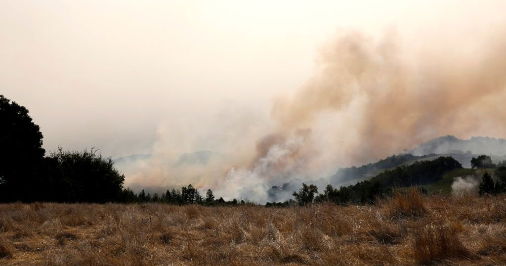 Getty image of wildfire burning in Napa County