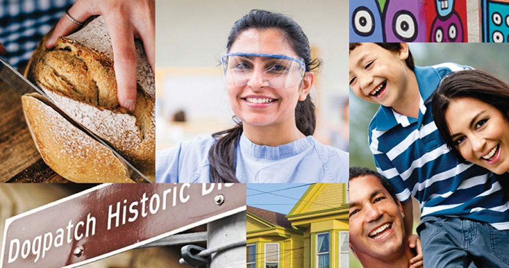 A collage of images showcasing the diversity of the Dogpatch neighborhood