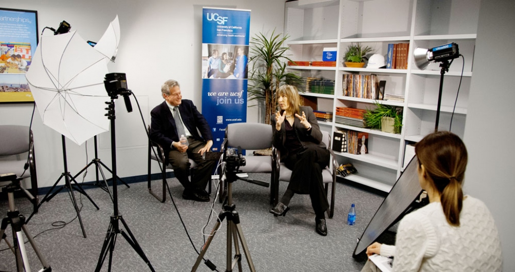 Drs. Robert Lustig and Laura Schmidt sit for a media interview