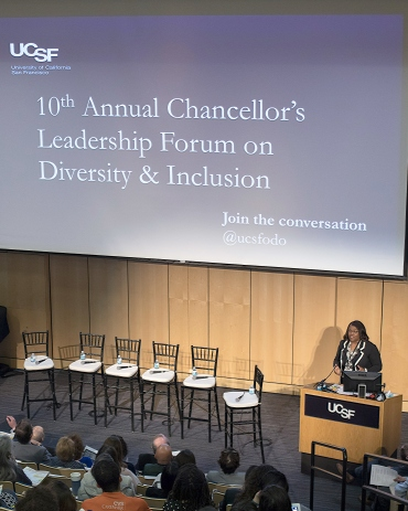Renee Navarro speaks during the Chancellor's Leadership Forum on Diversity and Inclusion