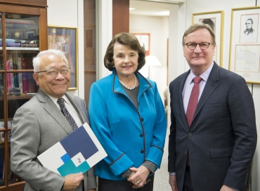 UCSF's Chancellor Sam Hawgood and Keith Yamamoto meet with Sen. Dianne Feinstein, D-Calif., in her Washington, D.C. office.