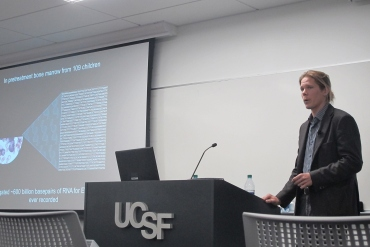 Stephen Francis presents during the UCSF Cancer Center Impact Grant live pitch event.