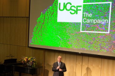UCSF Chancellor Sam Hawgood delivers his State of the University Address in October at the Parnassus campus