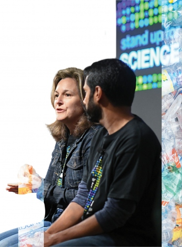 Woodruff speaks at the Stand Up For Science Teach-In
