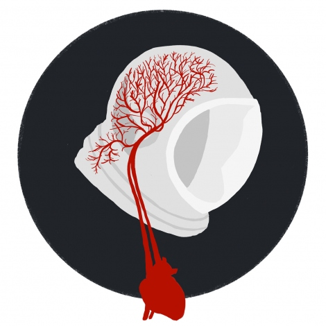 an illustration shows a heart and veins leading to a space helmet
