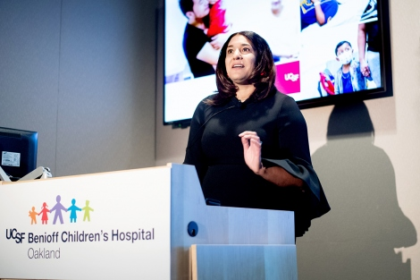 Dayna Long speaks during the State of the University speech from UCSF Benioff Children's Hospital Oakland