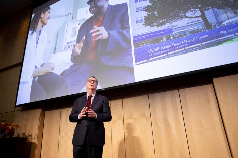 Sam Hawgood speaks during the State of the University address