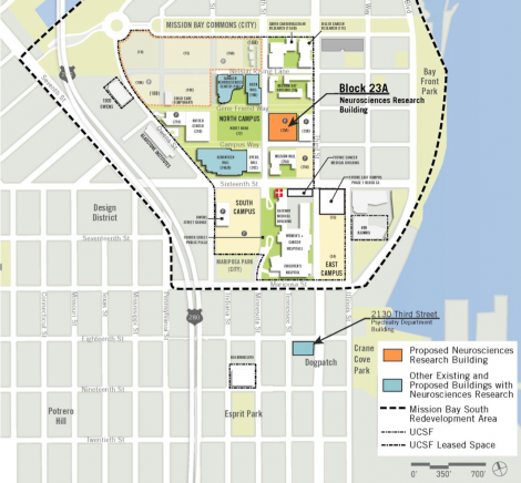 map showing location of Block 23A, where the neurosciences building will be constucted