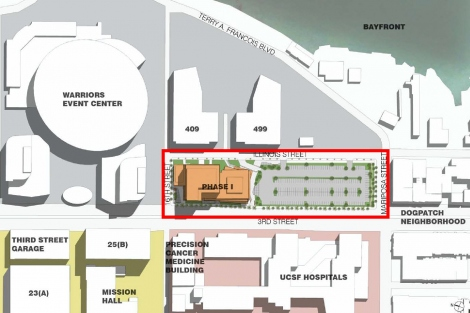 A map that shows the location of the The Block 33 parcel at UCSF's Mission Bay campus
