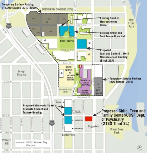 map of UCSF Mission Bay and Dogpatch