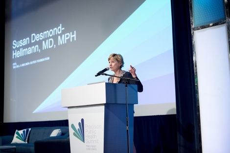 Sue Desmond-Hellmann speaks during the precision public health summit at UCSF