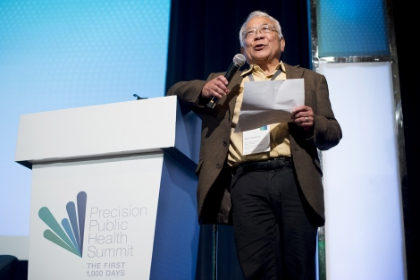 Keith Yamamoto speaks during the precision public health summit at UCSF