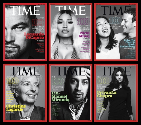 The six Time magazine covers for its 100 Most Influential People in the World issue are shown with Leonardo DiCaprio; Nicki Minaj; Priscilla Chan and Mark Zuckerberg; Christie Lagarde, Lin-Manuel Miranda; and Priyanka Chopra