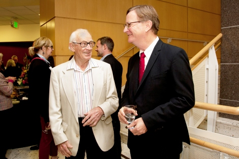 John Clements talks with Sam Hawgood at the 2014 State of the University Address