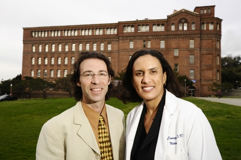 Dean Schilinger and Kirsten Bibbins-Domingo outside Zuckerberg San Francisco General Hospital in 2008