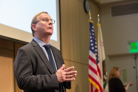 Sam Hawgood speaks during his State of the University address in UCSF's Cole Hall