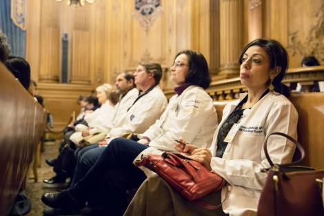 a row of ZSFG doctors sitting in City Hall