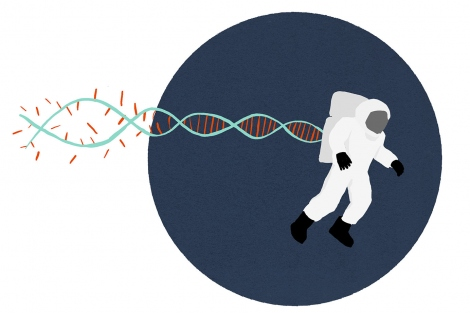 illustration of an astronaut with trailing DNA that is falling apart