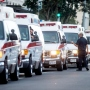 Row of ambulances.