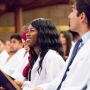 UCSF School of Medicine students smile during their white coat ceremony