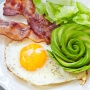 a ketogenic breakfast with egg, bacon, avocado and lettuce