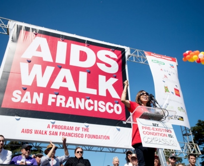 Monica Gandhi speaks during the opening ceremony for the 2017 AIDS Walk San Francisco in Golden Gate Park