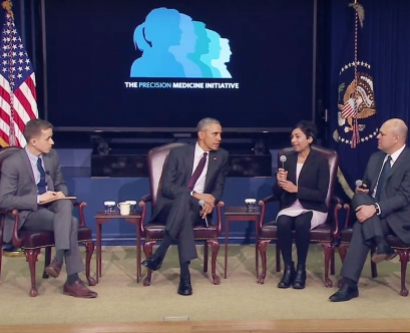 President Barack Obama participates in a panel discussion at the Precision Medicine Initiative Summit