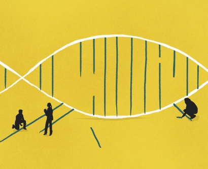 illustration of scientists holding potions of a DNA strand