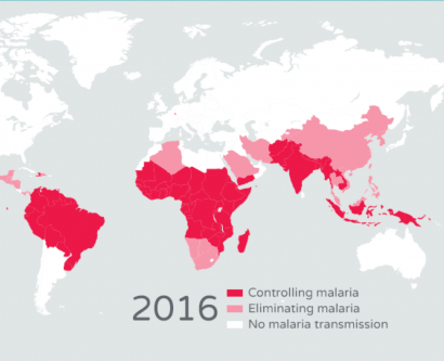 world map showing current state of malaria eradication in 2016