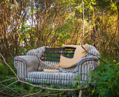 Image of an abandoned love seat