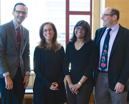 Winners of the Academic Senate Distinction In Teaching and the Distinction In Mentoring Awards include, from left, David M. Naeger, MD; Katherine Julian, MD; Anita Sil, MD, PhD; and Stuart Gansky, MS, DrPH.