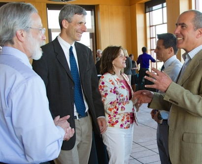 Winners of the 2014 Academic Senate awards chat after a ceremony at the Parnassus campus