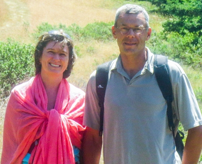 Alla and her husband, Sergei, pose while hiking at the Sea Ranch in Sonoma County, California
