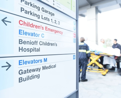 close-up of UCSF Benioff Children's Hospital sign directing visitors to the Emergency Department