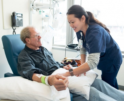 patient receives a cancer immunotherapy infusion at UCSF Medical Center