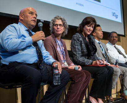 Esteban González Burchard, MD, MPH, speaks during the Chancellor's Diversity Forum. Also sitting on the panel were Erica Monasterio, RN, MN, FNP; Susan Schultz, MBA; Jeff Chiu, MA; Talmadge King, MD; and Dan Lowenstein, MD, Executive Vice Chancellor and Provost.