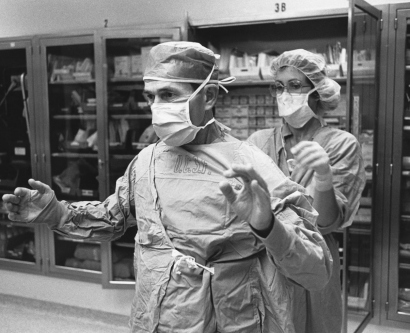 Archival photo of Charles Wilson preparing for surgery