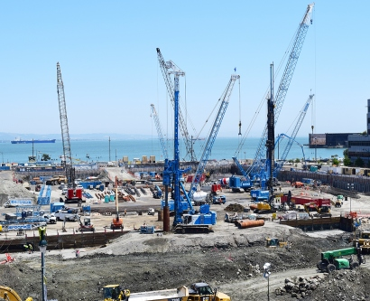construction cranes in Mission Bay