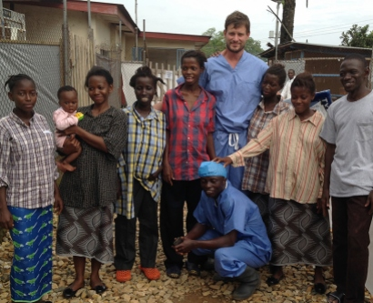 Ian Crozier with survivors and nurses in Kenema, Sierra Leone, September 2014.