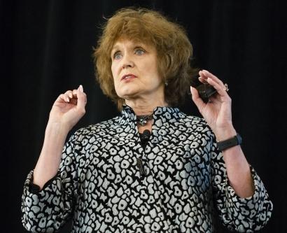 Barbara Drew gives a presentation at UCSF Alumni Weekend festivities