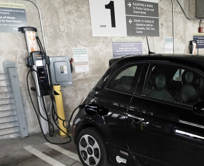 An electric vehicle charging station at UCSF