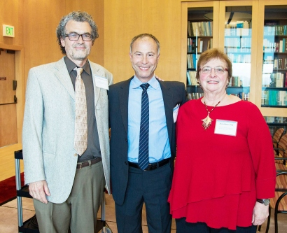 Eliseo Pérez-Stable, Mitchell Feldman, and Zena Werb pose for a photo at the Mentoring Award ceremony