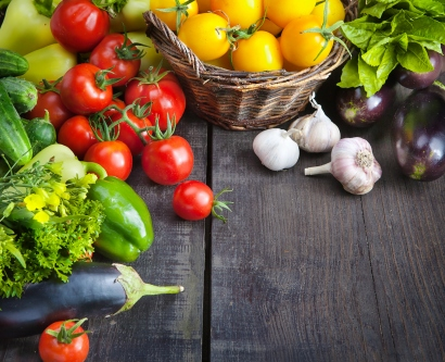 stock image of colorful vegetables on a table