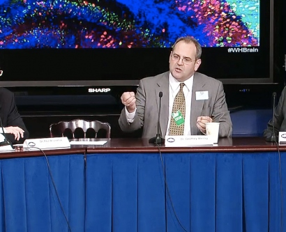 Neurosurgeon Geoff Manley speaks at a White House panel discussion on Sept. 30