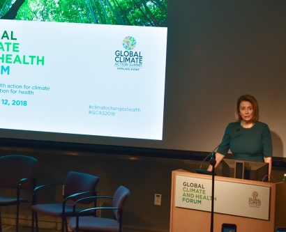 Nancy Pelosi speaks at the climate change forum at UCSF's Mission Bay