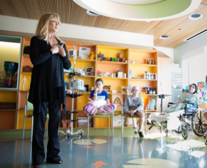 Actress Goldie Hawn leads a gratitude circle for patients and their parents at UCSF Benioff Children's Hospital San Francisco