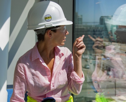 Lisa Mogannam, RN, gets a bird's eye view from the new UCSF Medical Center at Mission Bay.