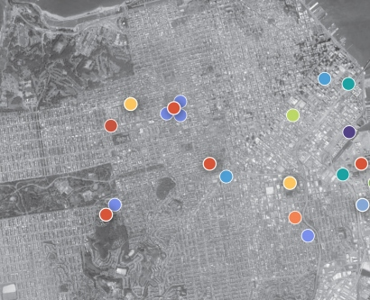 Aerial view of UCSF's various locations throughout San Francisco